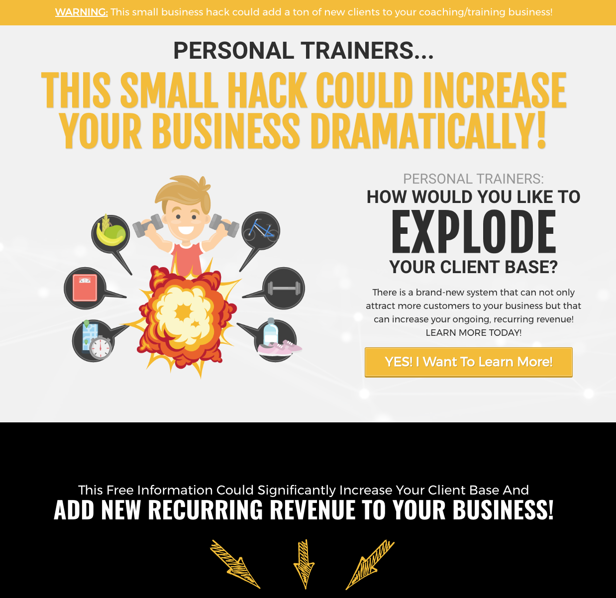Personal Trainer Squeeze Page